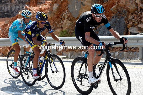 Froome is doing all the work in pursuit - but he'll jump away from Contador and Nibali before the finish...