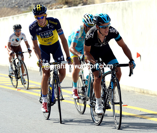 Richie Porte looks as if he's escaping with Albert Contador - in fact he's stalling while Chris Froome finds his climbing legs...