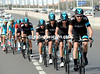 Team Sky chase is led by Christian Knees, barely 20-kilometres into the stage...