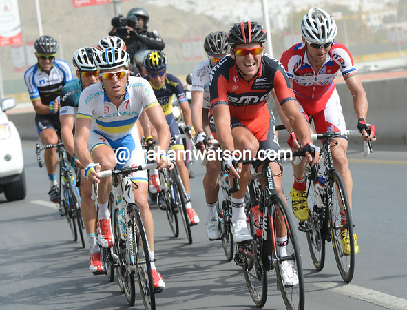 A nine-man escape is led by Greg Van Avermaet and Andre Grivko on a climb away from the capital city...