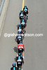 All eight Sky riders are leading the peloton on a lonely highway towards the main climb...
