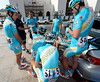 Astana and Vincenzo NIbali huddle around to hear Jan Kirsippu give his tactical speech...
