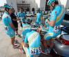 Astana and Vincenzo NIbali huddle around to hear Jan Kirsippu give his tactical speech...
