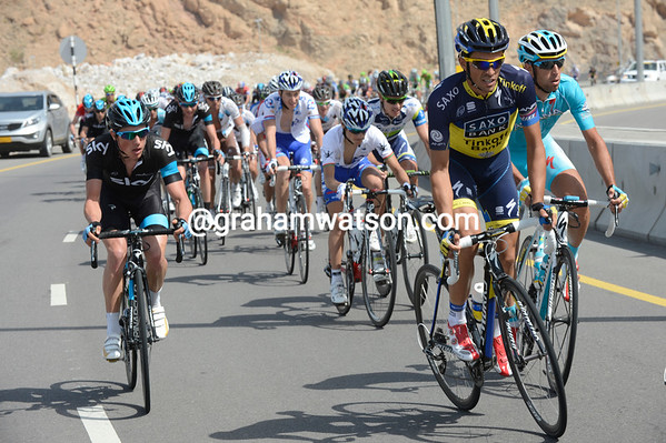 Alberto Contador moves to the front, while Sky's Peter Kennaugh moves up to challenge him..