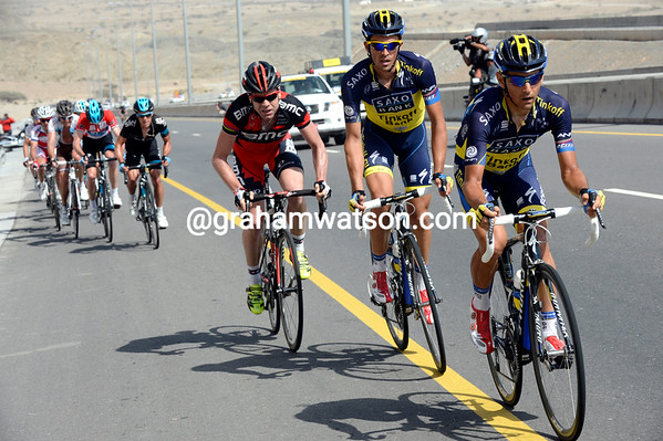Hernandez leads Contador and Evans as a split occurs with Froome behind...