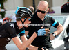 Young Joe Dombrowski has the attention of Dave Brailsford before the start...