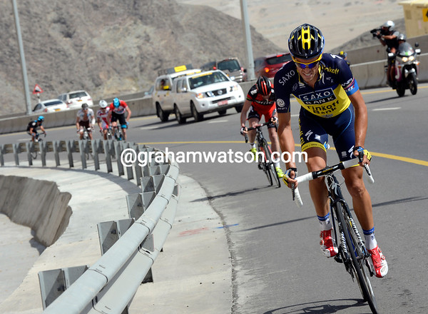 Contador attacks with two-kilomeres of climbing left - he's blown the race apart..!