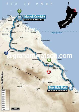 Tour of Oman Stage 6:  Hawit Nagam Park - Matrah Corniche 144 km