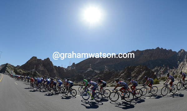 A last look at the beauty of Oman as the peloton points itself towards the city of Muscat...
