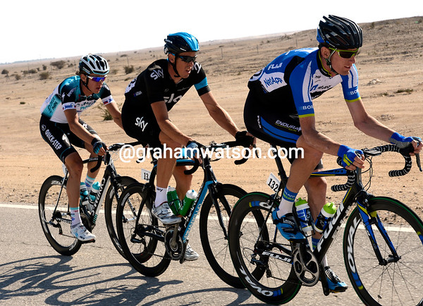 Zak Dempster leads an escape with Matthew Hayman and Martin Velits - they quickly gain three minutes...