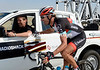 Fabian Cancellara laughs the day away while the race settles down...
