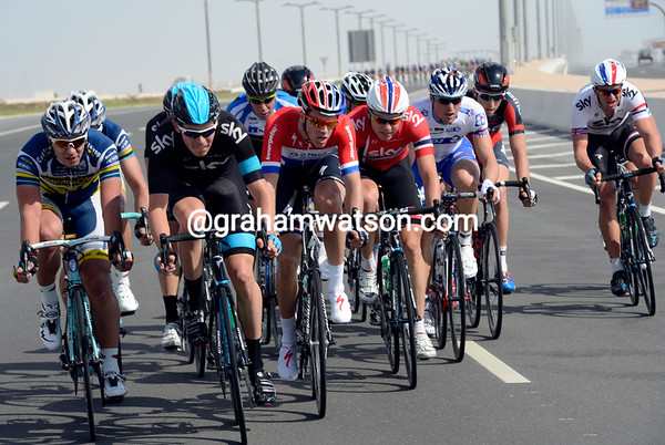 Luke Rowe is inflicting some pain up-front, with other Sky riders and Mark Cavendish with him...