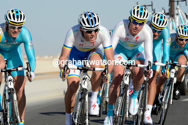 The powerful Astana team took 6th, 17-seconds down...