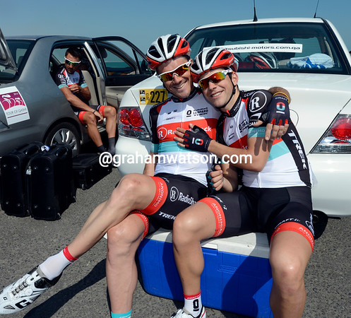 Happy birthday - Tony Gallopin gives his best wishes to Markel Irizar before the start...