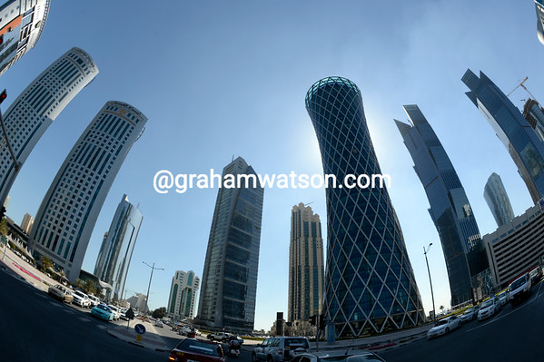 The transfer to the start took the race through Doha's spectacular city skyscrapers...