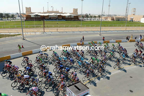 The peloton sets off from what is now a very sophisticated Camel Track, for stage four...