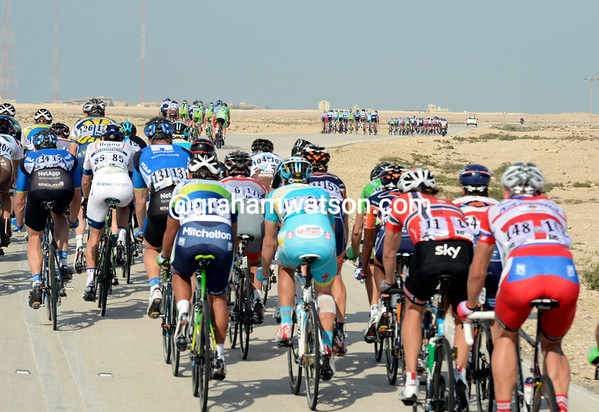 Four clear groups are visible from behind the peloton that includes a Boasson Hagen caught up in a crash earlier...