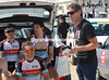 Dirk DeMol conducts his team talk with Radio Shack riders - something's being planned...