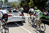 There's a long queue of cyclists awaiting treatment at another doctor's car - the race stays neutralised for almost 20-kilometres because of the spill...