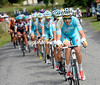 Astana is out in force still as it starts the Bales climb...