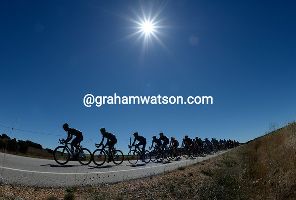 Movistar lead the peloton at about two minutes, it's unclear whether they'll let the gap open more or close it down...