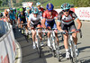 Matthew Busche launches Radio Shack's assault on the climb and on Nibali...