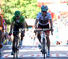 Horner crosses the finish line with Alejandro Valverde - Nibali has lost six-seconds to the American...