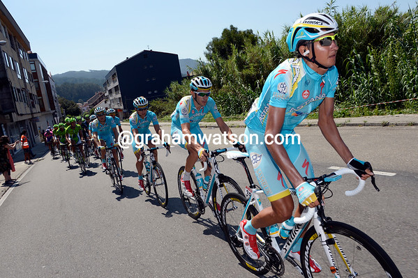 Astana are riding tempo at the head of the peloton - but it's not too stressful yet...