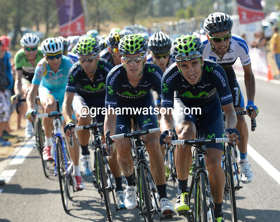 Movistar are setting a high pace to try and enable Valverde to win the stage....