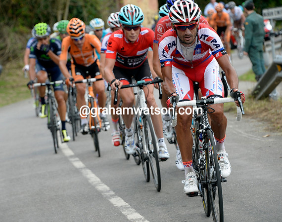 Katusha lead the chase up the Cordal, the gap is now about four minutes...