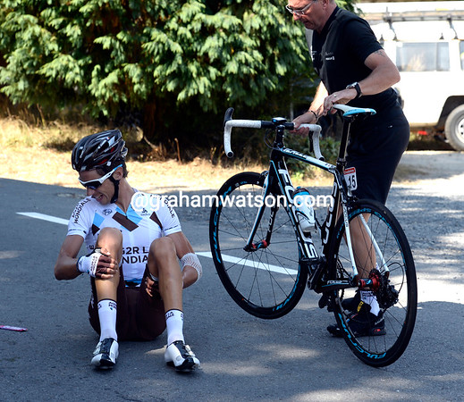 Mikel Cherel looks less good after a fall in the congested feed-zone...
