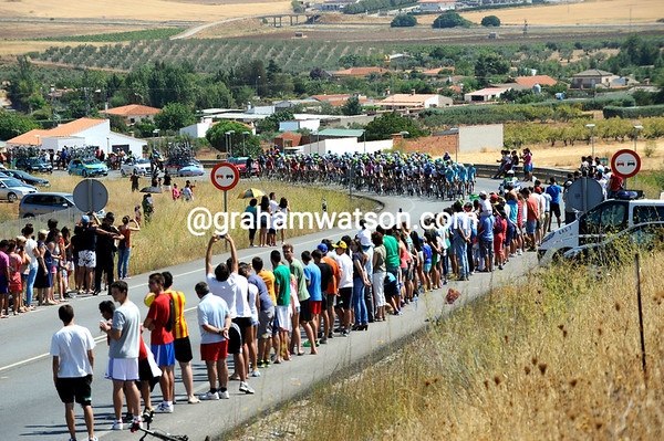 There's a big crowd of locals awaiting the Vuelta further south...