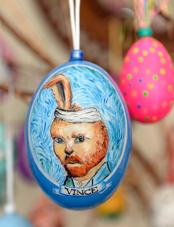 . Dave Thayer used a self-portrait of Vincent Van Gogh as the inspiration for this easter egg. Thayer paints a handful of easter eggs each year and adds them to his tree of eggs he puts up in his living room every year. Thayer showed off his artwork to the Denver Post Wednesday, April 2, 2014 at his home in Denver. (Photo by Karl Gehring/The Denver Post)