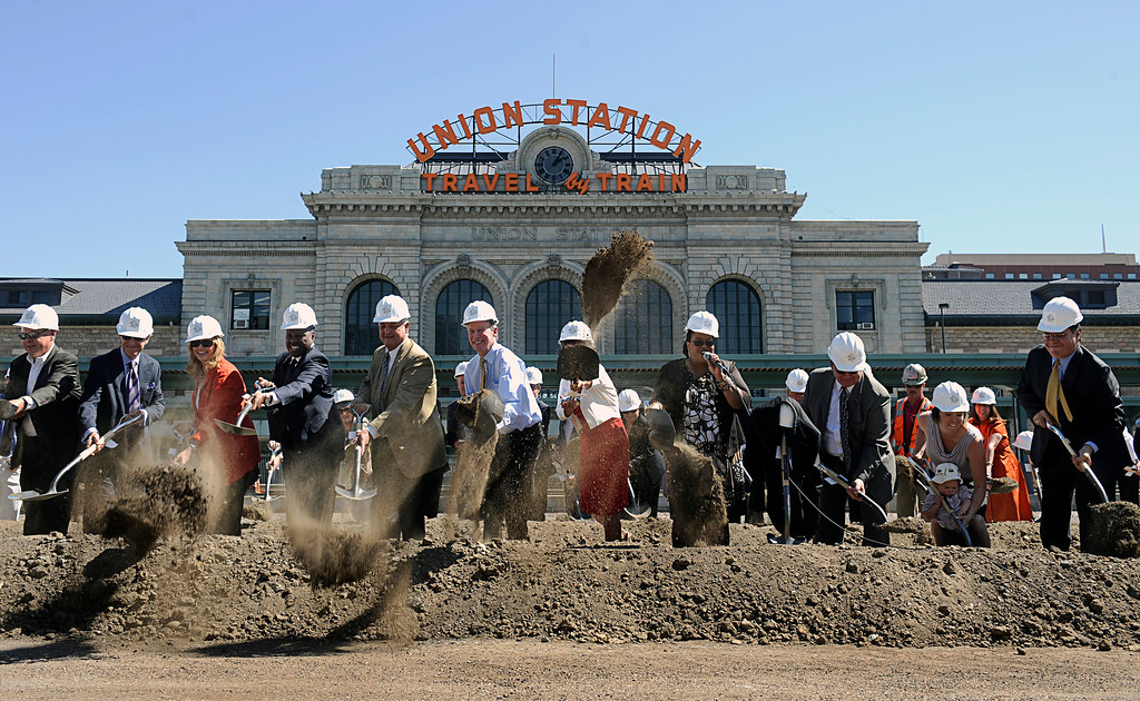 . State and local leaders and investors break ground during the Denver Union Station construction ceremony in Union Station on Tuesday afternoon, Sept. 7, 2010.  (Photo by Diego James Robles/The Denver Post)