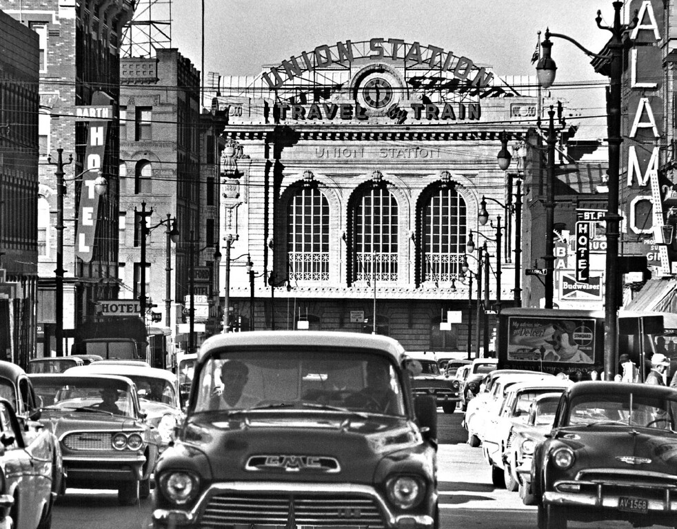. Union Station seen from 17th street in Denver, Colorado in 1959.  (Photo by Albert Moldvay /The Denver Post)
