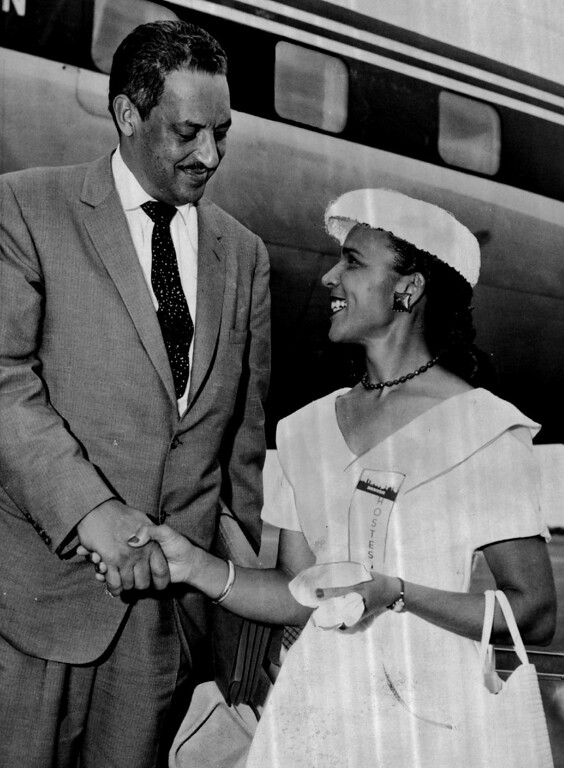 . Thurgood Marshall, counsel for the NAACP, is welcomed to Denver by Mrs. Edmond Noel of the Denver chapter of Links on June 30, 1956. Marshall is in town to address the Links Convention.  (Photo by Cloyd Teter/The Denver Post)