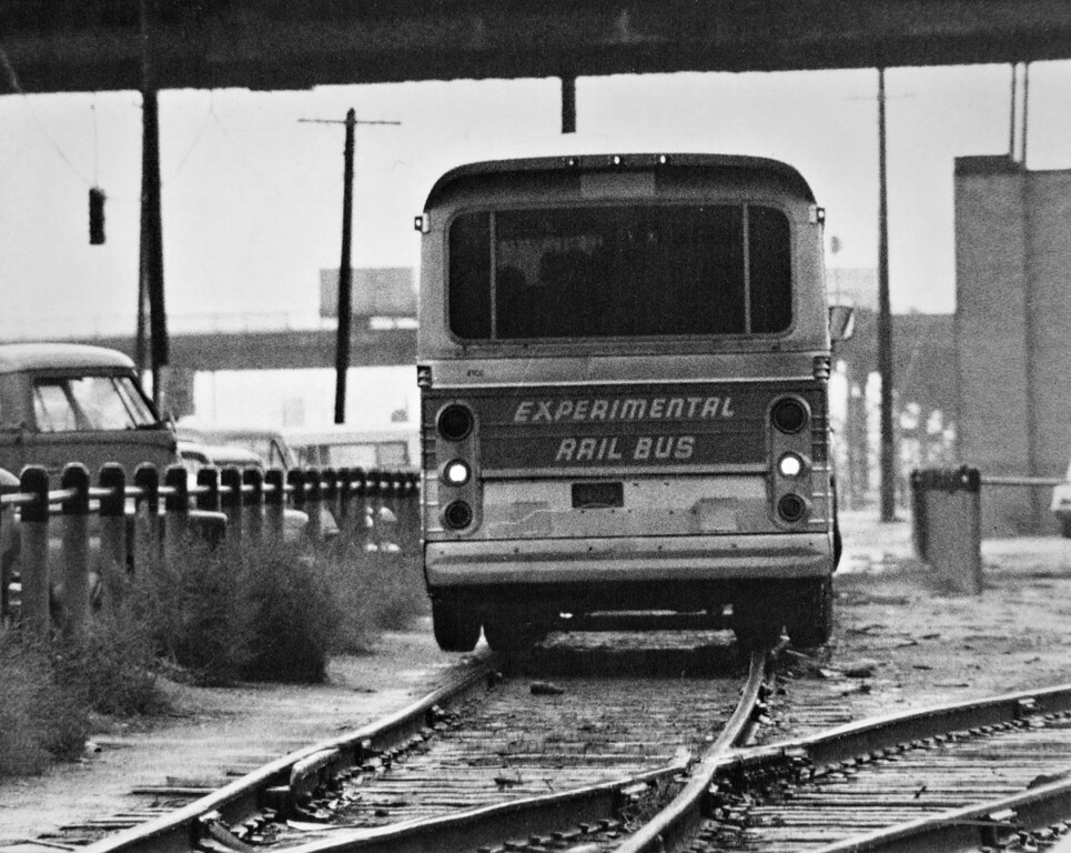 . Blasts of fog horn warned motorists at street crossings and Union Pacific officials, using walkie-talkie radios, went along to make sure all systems were a go on the rails for a 12-mile test of this Experimental Rail Bus in 1969. The vehicle went 60 miles an hour.  (Photo by Ira Gay Sealy/The Denver Post)