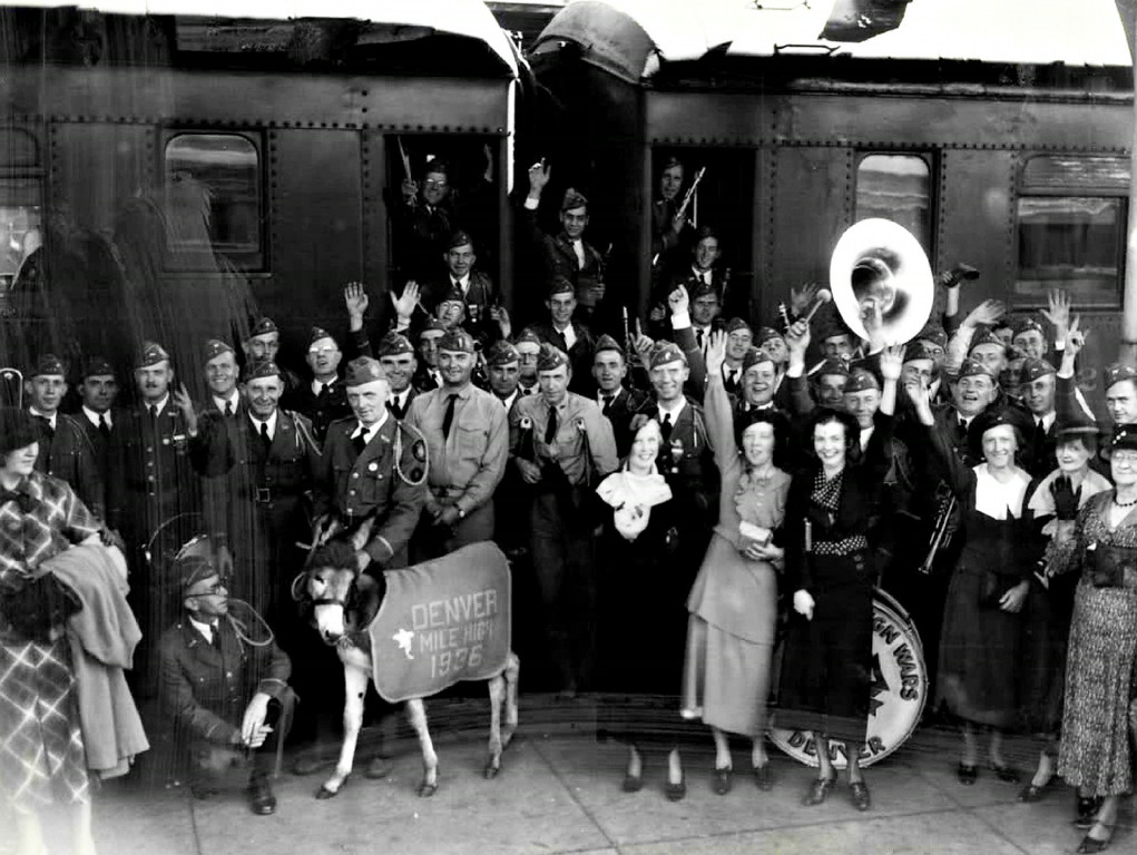 . Denver members of the Veterans of Foreign Wars arrived at Union Station in Denver from New Orleans in 1935. In the middle of the picture is Mile High, the Burro Mascot of the group, who got great attention in New Orleans and did his share in bringing next year\'s gathering.  (The Denver Post Library Archive)