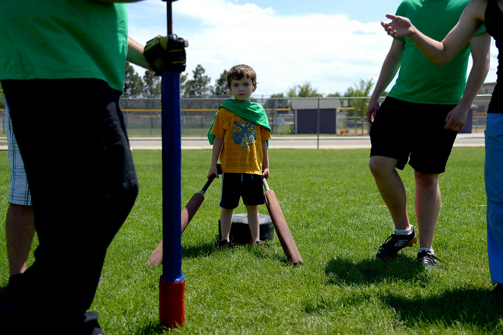 . Ethan Walker stands read to guard his team\'s goal as they prepare for an attack. The Colorado Jugger League exhibition and barbecue on Sunday, July 13, 2014. (Photo by AAron Ontiveroz/The Denver Post)