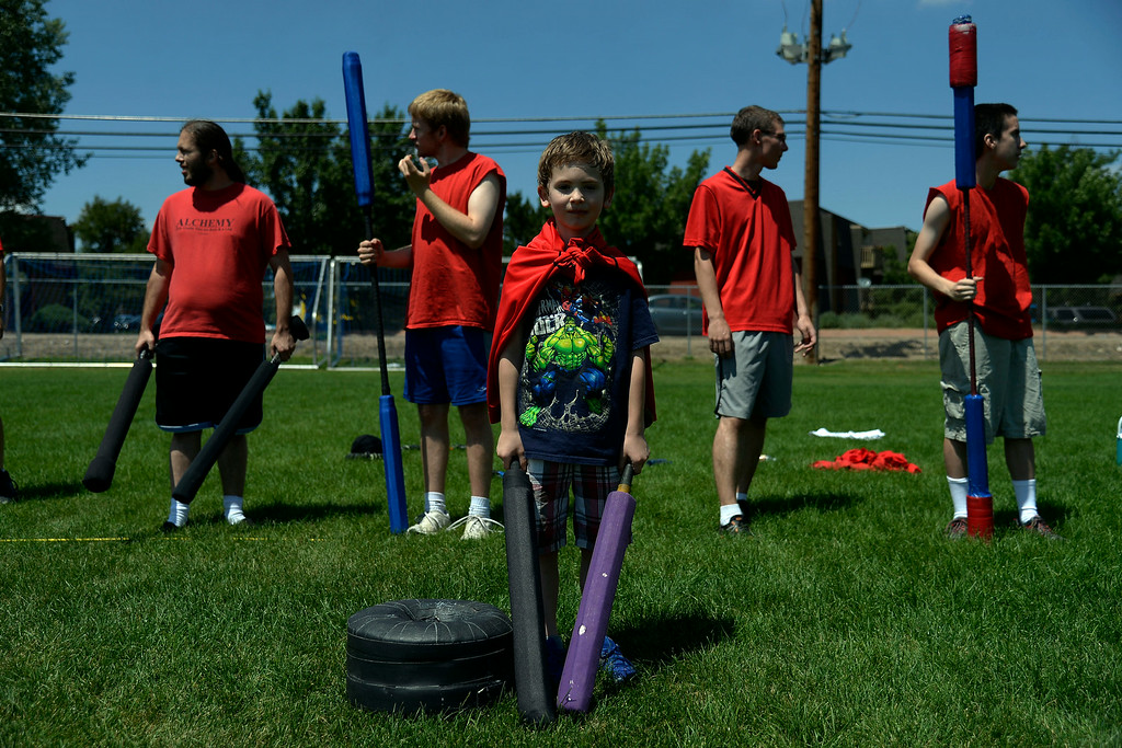 . Christian Walker, 7, prepares to guard his team\'s goal as teammates line up for the initial attack. The Colorado Jugger League exhibition and barbecue on Sunday, July 13, 2014. (Photo by AAron Ontiveroz/The Denver Post)