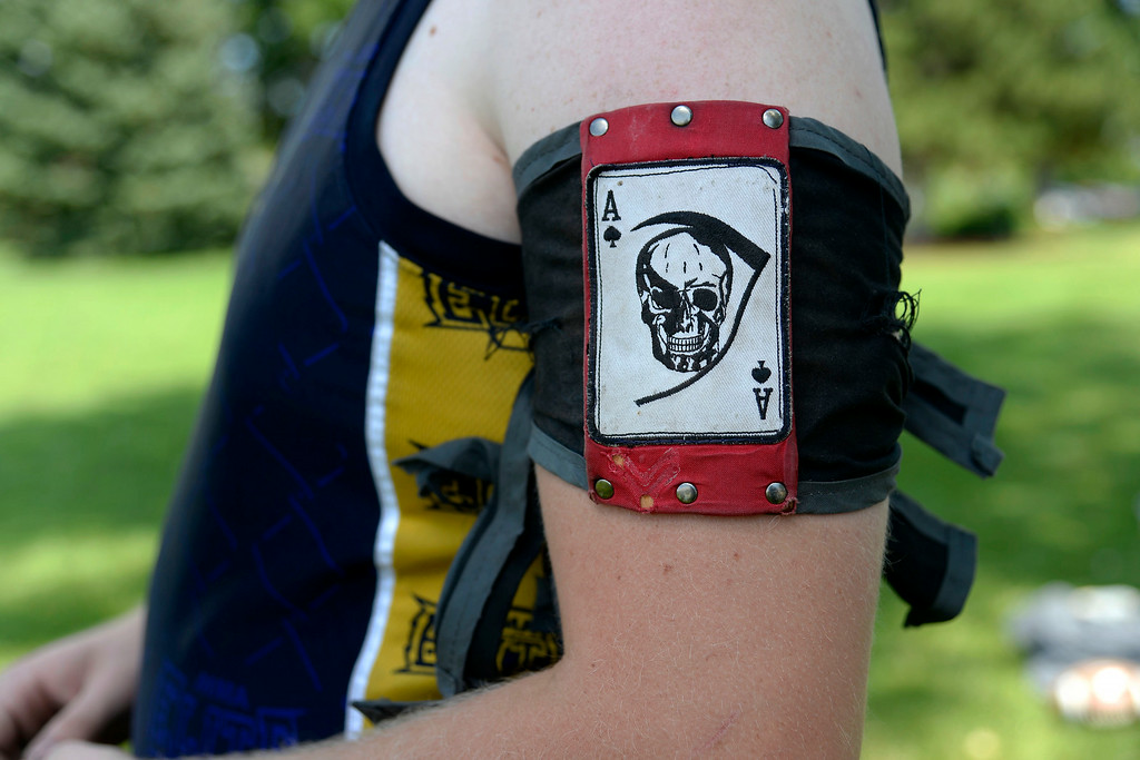 . Ethan George wears the patch of his team during an exhibition. The Colorado Jugger League exhibition and barbecue on Sunday, July 13, 2014. (Photo by AAron Ontiveroz/The Denver Post)