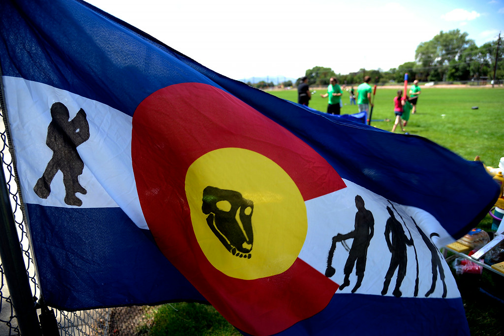. The Colorado Jugger Leage flag blows in the breeze during an exhibition. The Colorado Jugger League exhibition and barbecue on Sunday, July 13, 2014. (Photo by AAron Ontiveroz/The Denver Post)