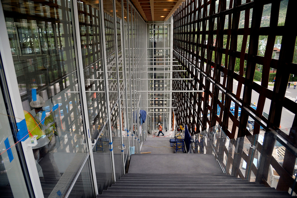 . The Aspen Art Museum is opening a new addition, which was designed by renowned Japanese architect Shigeru Ban. The outside of the building is covered in composite wood known as prodema The Aspen Art Museum\'s latest downtown addition as photographed on Wednesday, July 23, 2014. (Photo by AAron Ontiveroz/The Denver Post)