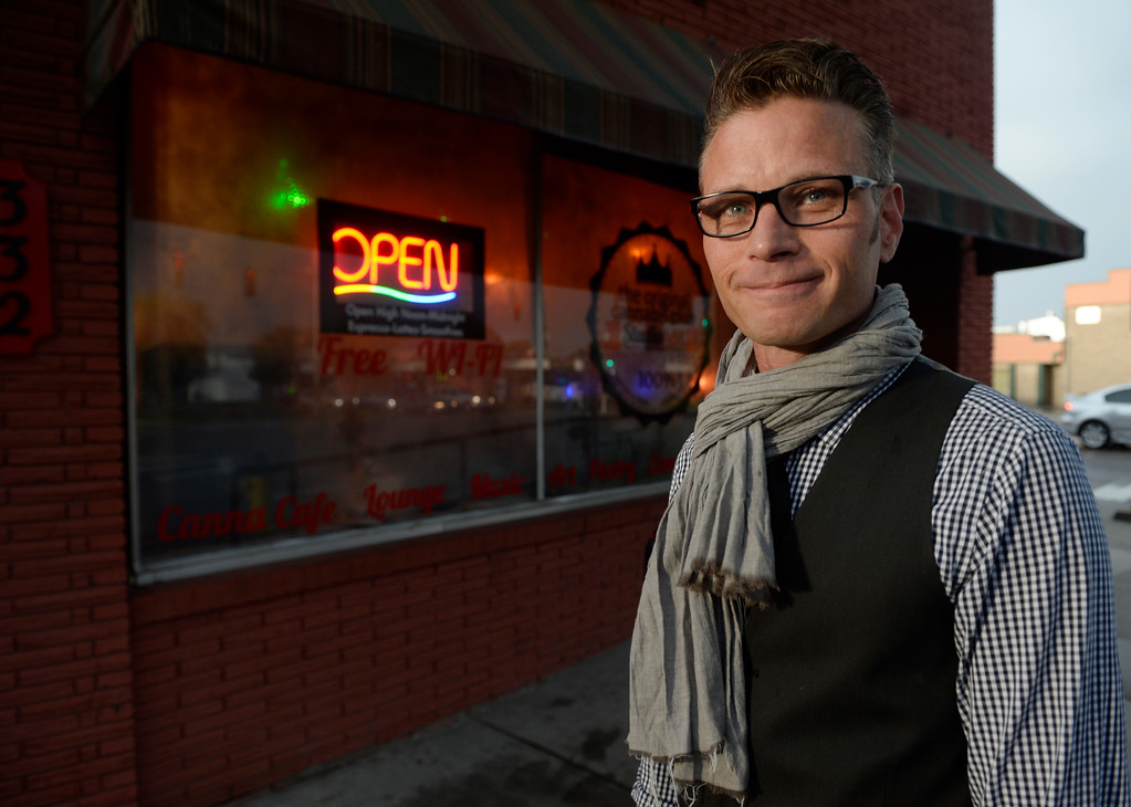 . COLORADO SPRING, CO. - Co-owner of Studio A64, members only cannabis social club, KC Stark, out in front of his club Friday evening, August 15, 2014. (Photo By Andy Cross / The Denver Post)