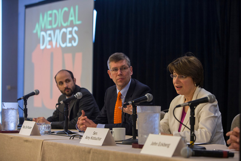 Minneapolis, MN - 10X MedicalDevice Conference for Exponential Growth featured speakers such as  Sen. Amy Klobuchar (D-MN) and Rep. Erik Paulsen (R-MN) and expert panelists here today, Monday, April 29, 2013. The conference was being held at the Minneapolis Hyatt Regency and focused on small to mid-size companies and advice for their continued growth. Date: Monday, April 29, 2013 Photo by © MedMeetingImages.com/Todd Buchanan 2013  Technical Questions: todd@medmeetingimages.com.com; Phone: 612-226-5154.