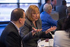 Minneapolis, MN - 10X Medical Device Conference: Attendees and Experts converse before the start of the Medical Device for Exponential Growth conference featuring speakers such as  Sen. Amy Klobuchar (D-MN) and Rep. Erik Paulsen (R-MN) and expert panelists here today, Monday, April 29, 2013. The conference was being held at the Minneapolis Hyatt Regency and focused on small to mid-size companies and advice for their continued growth. Date: Monday, April 29, 2013 Photo by © MedMeetingImages.com/Todd Buchanan 2013  Technical Questions: todd@medmeetingimages.com.com; Phone: 612-226-5154.