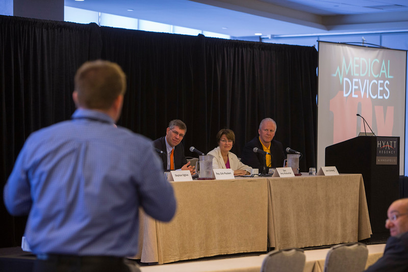 Minneapolis, MN - 10X MedicalDevice Conference for Exponential Growth featured speakers such as  Sen. Amy Klobuchar (D-MN) and Rep. Erik Paulsen (R-MN) and expert panelists here today, Monday, April 29, 2013. The conference was being held at the Minneapolis Hyatt Regency and focused on small to mid-size companies and advice for their continued growth. Date: Monday, April 29, 2013 Photo by © MedMeetingImages.com/Todd Buchanan 2013  Technical Questions: todd@medmeetingiamges.com.com; Phone: 612-226-5154.