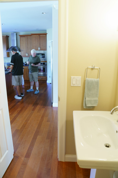 view from powder room into kitchen