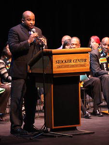 Mr. Michael Scott addresses the students and their families at the Lorain County Alliance of Black School Educators Inc. 30th Annual Academic Achievement Awards at LCCC. photo by Ray Riedel