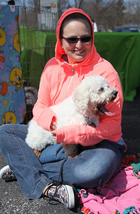 "Ruth Gutschmidt, president of Live Love Rescue and her dog ""Kazoo"" whom she rescued from a puppy mill at the Love-a-Stray Dog Walk in Avon Lake. photo by Ray Riedel"